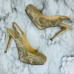 Kate spade snake print gold trim platform heels